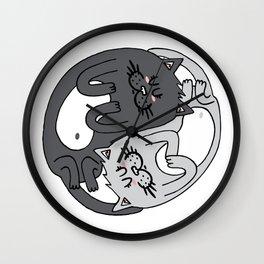 Yin & Yang cats - black & white Wall Clock