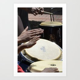 playing bongos Art Print