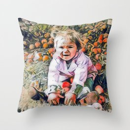 Girl with Apples Throw Pillow