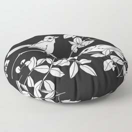 Birds on Branches, Drawing (White on Black) Floor Pillow