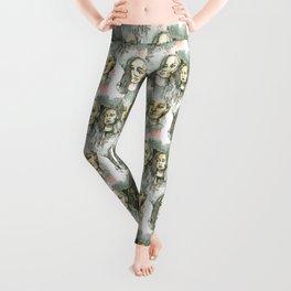 watercolor faces pattern Leggings