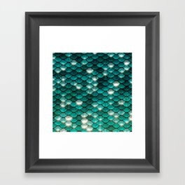 Turquoise sparkling mermaid glitter scales- Mermaidscales Framed Art Print