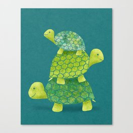 Turtle Stack Family in Teal and Lime Green Canvas Print