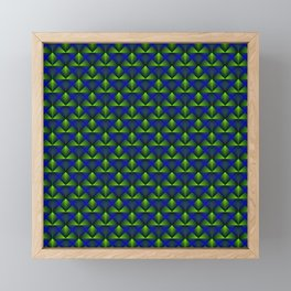Chaotic pattern of green rhombuses and blue pyramids. Framed Mini Art Print