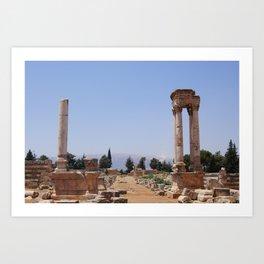 Ruins - Pillars & Mountains  Art Print
