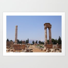 Ruins - Pillars & Mountains  Art Print