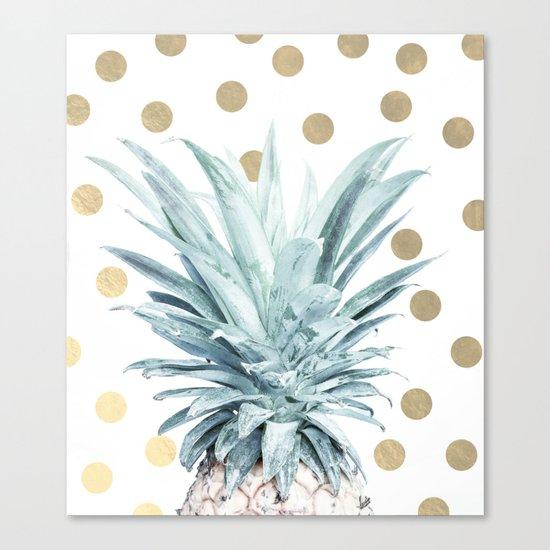 Pineapple crown - gold confetti Canvas Print