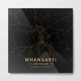 Whangarei, New Zealand - Gold Metal Print