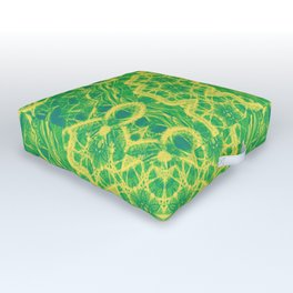 mystic mandala in green and yellow Outdoor Floor Cushion