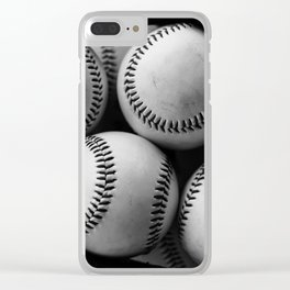 Black and White Pile of Baseballs Clear iPhone Case
