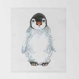 Molly the baby penguin Throw Blanket