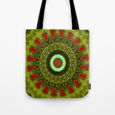 Lovely Healing Mandala  in Brilliant Colors: Olive, Green, Burnt Orange, Black, and Turquoise Tote Bag