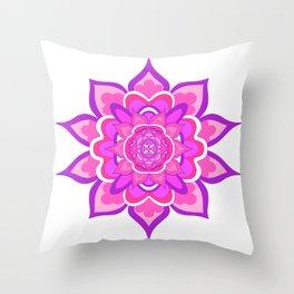 Pink Floral Mandala Throw Pillow