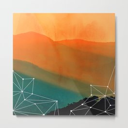 Orange Geometric Mountains Metal Print