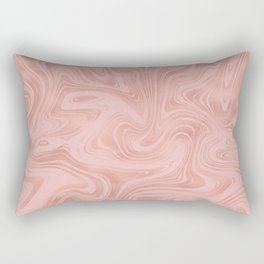 Elegant Rose Gold Pink Metallic with Marble Abstract Pattern Rectangular Pillow