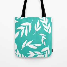 White leaves in forest green Tote Bag