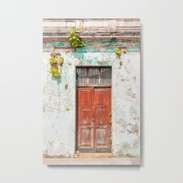 Old red door in Antigua, Guatemala Metal Print