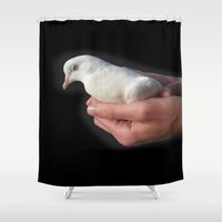 spiritual Shower Curtains featuring Spiritual Dove by Abstractartchick