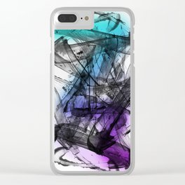 Expressive Edgy Modern Abstract Painting Clear iPhone Case