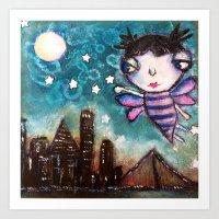 friday night lights Art Prints featuring Friday Night Lights by Bev Jensen