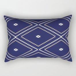Navajo Pattern - Tan / White / Navy Rectangular Pillow