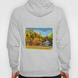 Bicycles on bridge over the canals Colorful vector hand drawing illustration Hoody