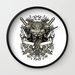 Vintage Japanese Samurai - Skeleton Skull Warrior Wall Clock