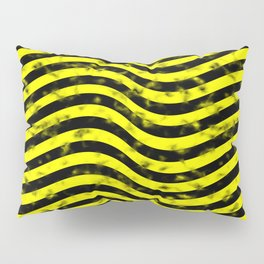 Wiggly Yellow and Black Speckle Pattern Pillow Sham