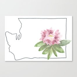 washington // watercolor rhododendron state flower map Canvas Print