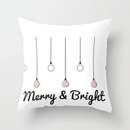 Merry and Bright Christmas Decorations Throw Pillow