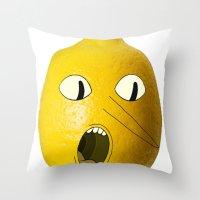 lemongrab Throw Pillows featuring Lemongrab! by Al's Visions
