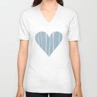 birch V-neck T-shirts featuring winter birch by studiomarshallarts