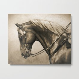 Western Quarter Horse Old Photo Effect Metal Print