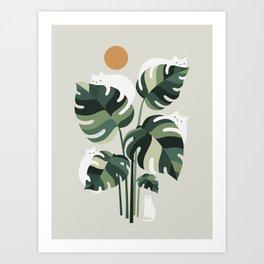 Cat and Plant 11 Art Print