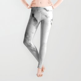 Gentle Marble Collection: Soft Ebony White With Ashen Veins Leggings