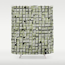 Yellow green pixels fashion Shower Curtain
