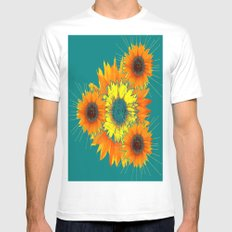 Contemporary Teal Sunflowers Art Mens Fitted Tee MEDIUM White