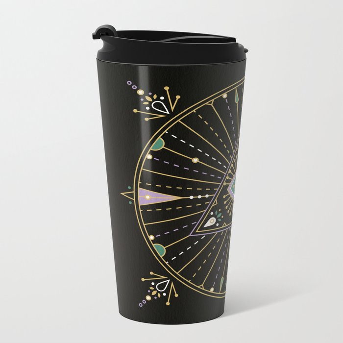Evil Eye Mandala – Black Metal Travel Mug