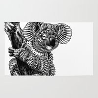 ornate Area & Throw Rugs featuring Ornate Koala by BIOWORKZ