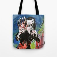 nick cave Tote Bags featuring Nick Cave Red Right Hand by Caitlyn Shea