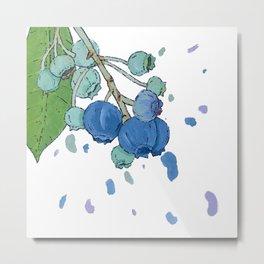 Blueberry Splatter Metal Print