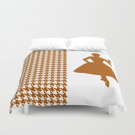 Caramel Modern Houndstooth with Fashion Silhouette Duvet Cover