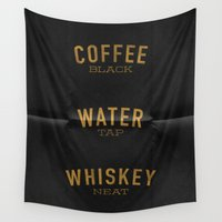 whiskey Wall Tapestries featuring Coffee Water & Whiskey by Joe Young