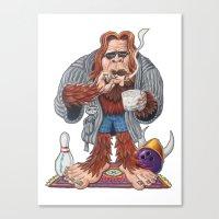 lebowski Canvas Prints featuring Bigfoot Lebowski by Eli Wolff