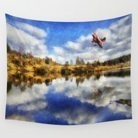 aviation Wall Tapestries featuring Over The Lake by Ian Mitchell