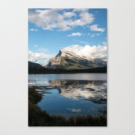 Reflections on the water; Vermillion Lakes, Banff Alberta Canada Canvas Print