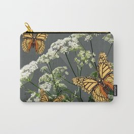 """CREAM COLORED BUTTERFLIES """"SPRING SONG"""" LACE FLOWERS Carry-All Pouch"""