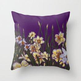 Yellow daffodils field illustration  Throw Pillow