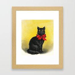 Pretty Black Cat- Vintage Cat Framed Art Print