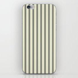 Mattress Ticking Wide Striped Pattern in Dark Black and Beige iPhone Skin
